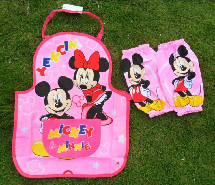 Free Shipping children Aprons set (Apron + oversleeve) waterproof painting apron Kids aprons(China (Mainland))