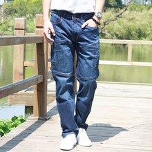 Spring splicing jeans men straight tube loose fitting multiple pockets zipper stretch has a large length of pants surge(China (Mainland))