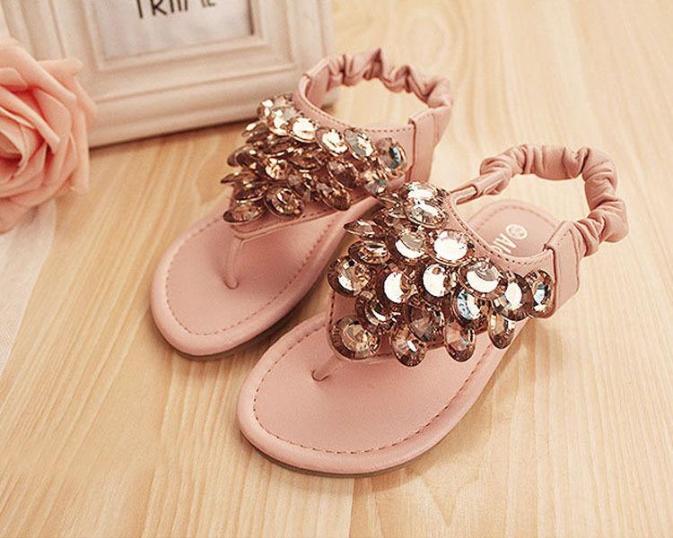 Elastic Band Sandals Glitter BeadingChildren Beach The Non-Slip Soles Soft Leather Sandal Baby Girl<br><br>Aliexpress
