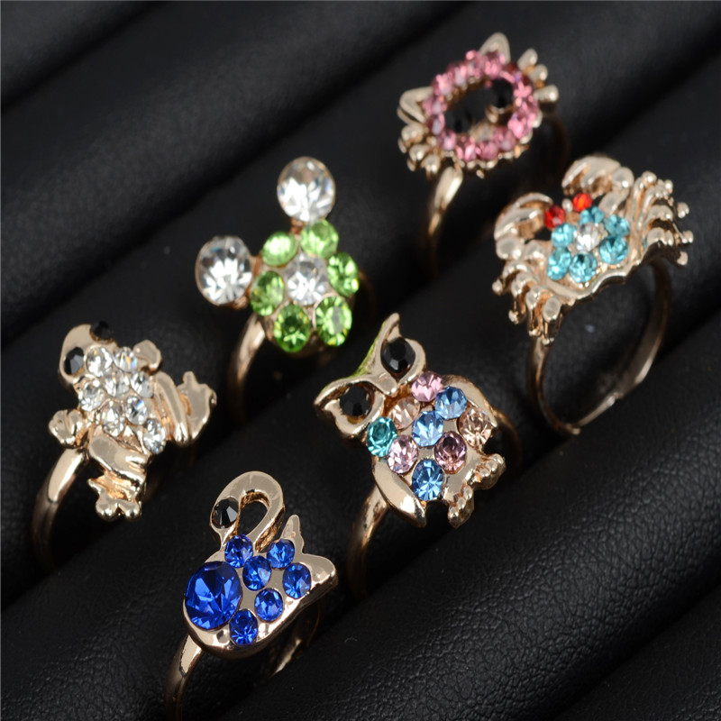 Wholesale 100pcs Lots Mixed Jewelry Crystal Rhinestone Kid Children Ring Bulk Silver P Cute Child Party Crystal Adjustable Rings