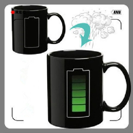 Animated Battery Shape Color Changing Mug Amazing Ceramic Cup Temperature Changing Mugs Coffee Cups 1pcs/lot(China (Mainland))