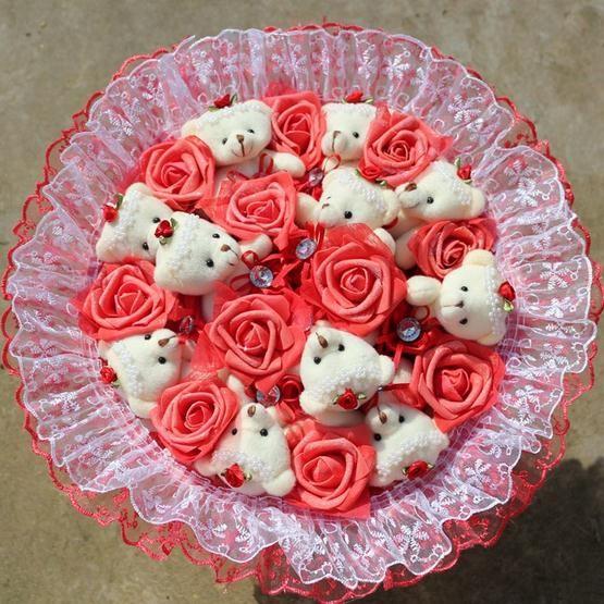 11 Roses +11 Teddy Bear Cartoon Bouquet Handmade Soft Plush Toy Fake Rose ValentineGift - flower bouquet store