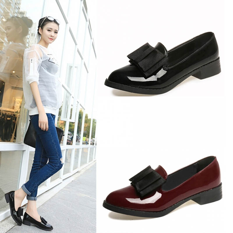 2015 fashion leather shoes womens pointed toe bow shallow mouth low heel spring and autumn pumps<br><br>Aliexpress