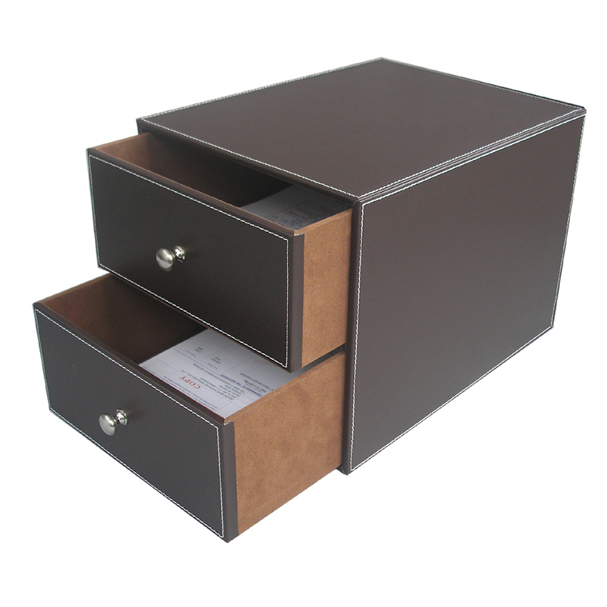 Buy brown 2 drawer leather office desk - Desk organizer drawers ...