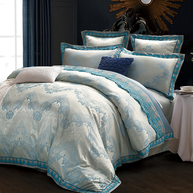 Luxury silk satin wedding bedding sets queen king size for Luxury cotton comforter sets