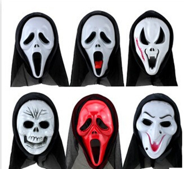 Scary Skull Ghosts Face Mask Horror Mask Halloween Party Dress with Hood Scream Full Face Protect Halloween