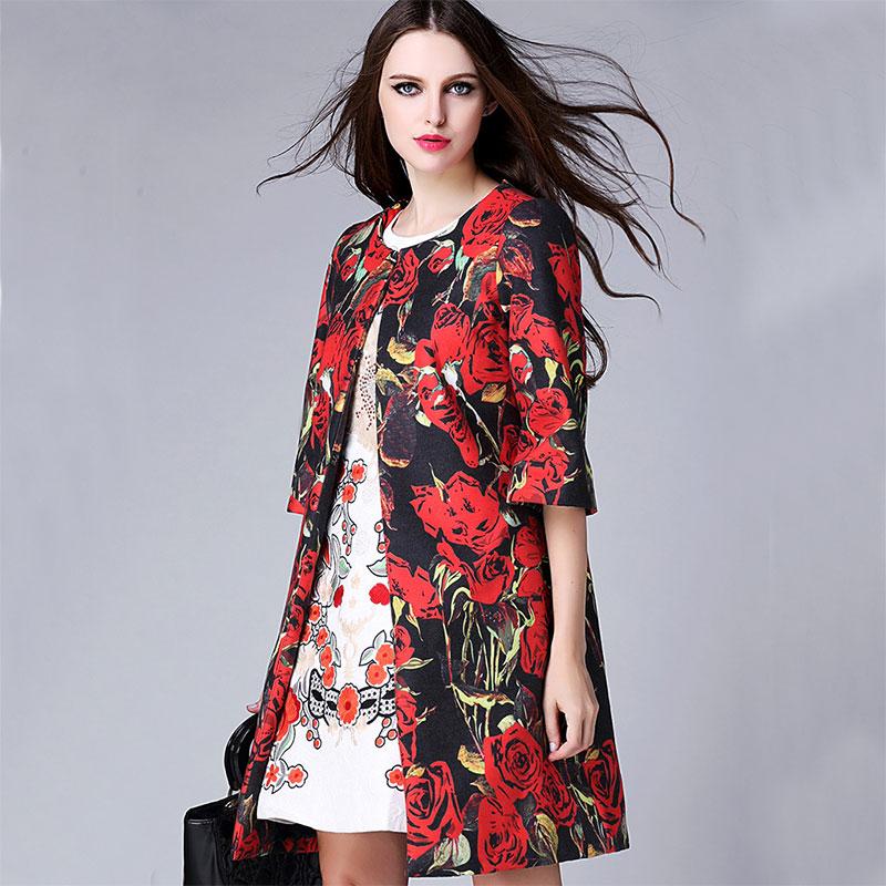 Wool Coat 2015 Runway Fall Winter Europe Fashion New 3/4 Sleeve Sweet Rose Print Slim Elegant