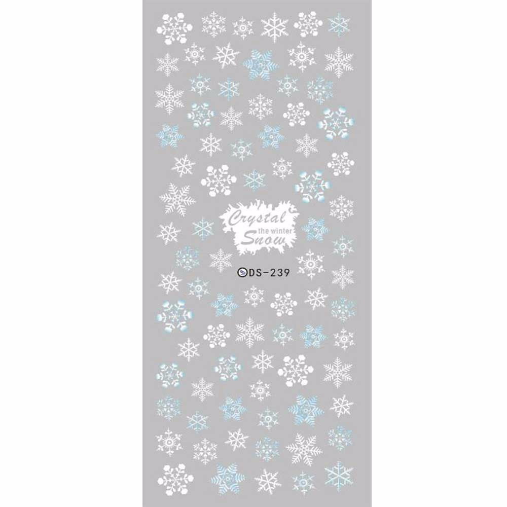 2017 DIY Designer Winter Water Transfer Nails Art Sticker White Snowflake harajuku Nail Wraps Foil Sticker manicure stickers(China (Mainland))
