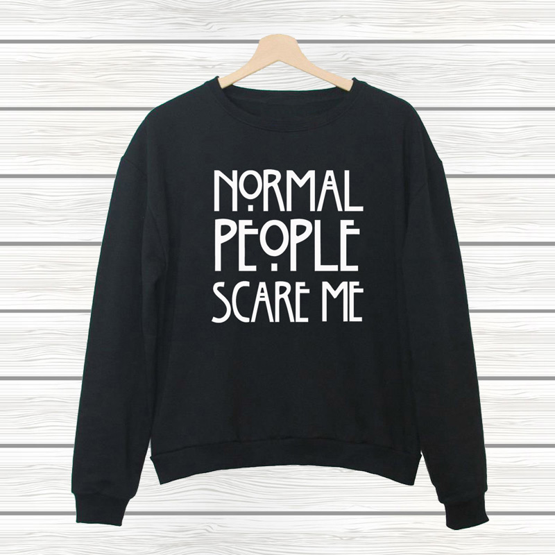 NORMAL PEOPLE SCARE ME 2016 New Letters Print Funny Harajuku Jogging Tracksuit For Women Sleeve Hipster Sport Sweatshirt Hoodies(China (Mainland))