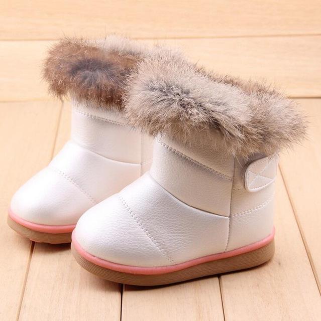 Зимняя Мода ребенка девушки снег boots обувь теплый плюшевые мягкое дно девочки сапоги удобные дети кожа зима снег загрузки для ребенка