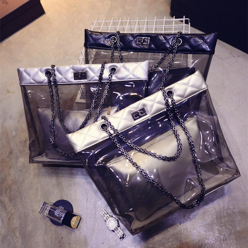 2015 spring new picture crystal jelly bag handbag Korean fashion transparent female bag Composite Bag Beach Bag(China (Mainland))