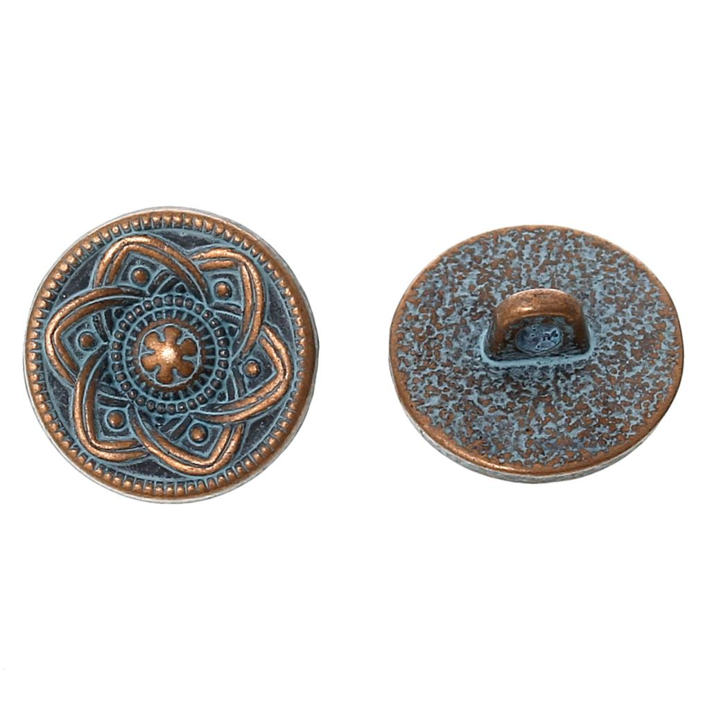 """Zinc metal alloy Shank Button Metal Buttons Round Antique Copper Single Hole Flower Pattern 15.0mm( 5/8"""")Dia,3 PCs 2015 new(China (Mainland))"""