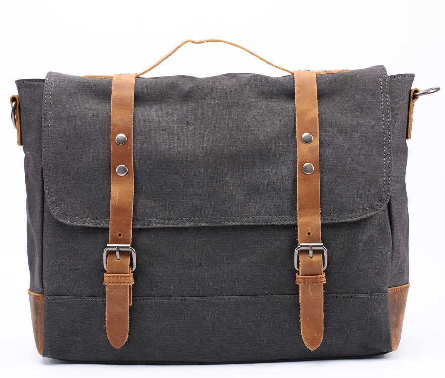 2016 Canvas Messenger Bag Retro Vintage Laptop Men's Shoulder Bag Unisex Canvas with Genuine Leather Handbag Brand Crossbody bag(China (Mainland))