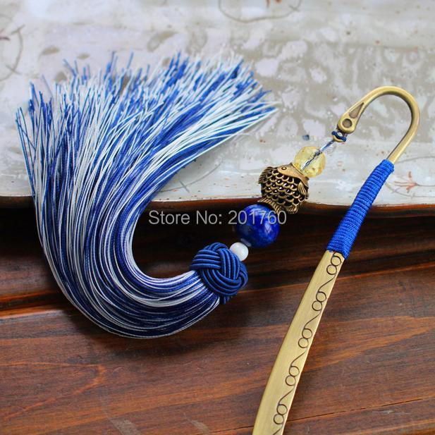 White Blue Tassel Bookmarks Classical Auspicious Fish Office School Supplies Gifts Bookmark 3 pcs/lot Free Shipping(China (Mainland))