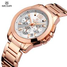 Buy Luxury Megir Brand Watch Men Multifunction Business 3 Diall Waterproof Date Women Watch Full Steel Fashion Lover's Quartz Watch for $20.40 in AliExpress store