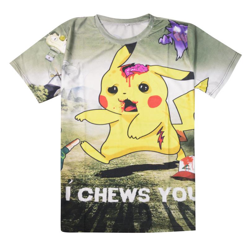 Women Summer T Shirt Cartoon Printed Short Sleeved O Neck T Shirt Pikachu font b Pokemon