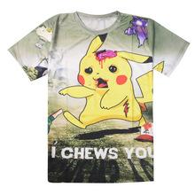 Women Summer T-Shirt Cartoon Printed Short-Sleeved O-Neck T -Shirt Pikachu Pokemon Go Zombie Bite You I CHEWS YOU