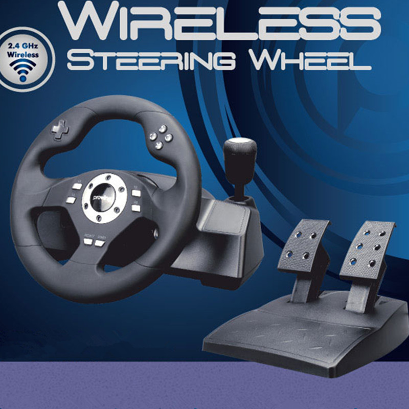 Qi Like KMP3105 wireless computer game steering wheel vibration PC-USB Need for Speed GT racing simulation to learn to drive(China (Mainland))