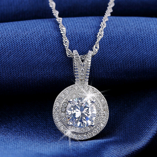 DALI 1.25 CT Heats and Arrows Cut Zircon Pendant Necklace 925 Silver Necklace for Women Wedding and Engagement DN87(China (Mainland))