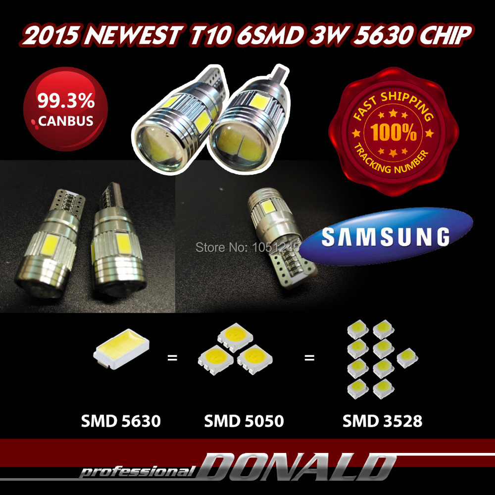 2x High Power 3W T10 W5W Turn Singal Backup Reverse White SAMSUNG LED CANBUS Error 6SMD 5630 5730 Cree Lens Projector - Donald Mall store