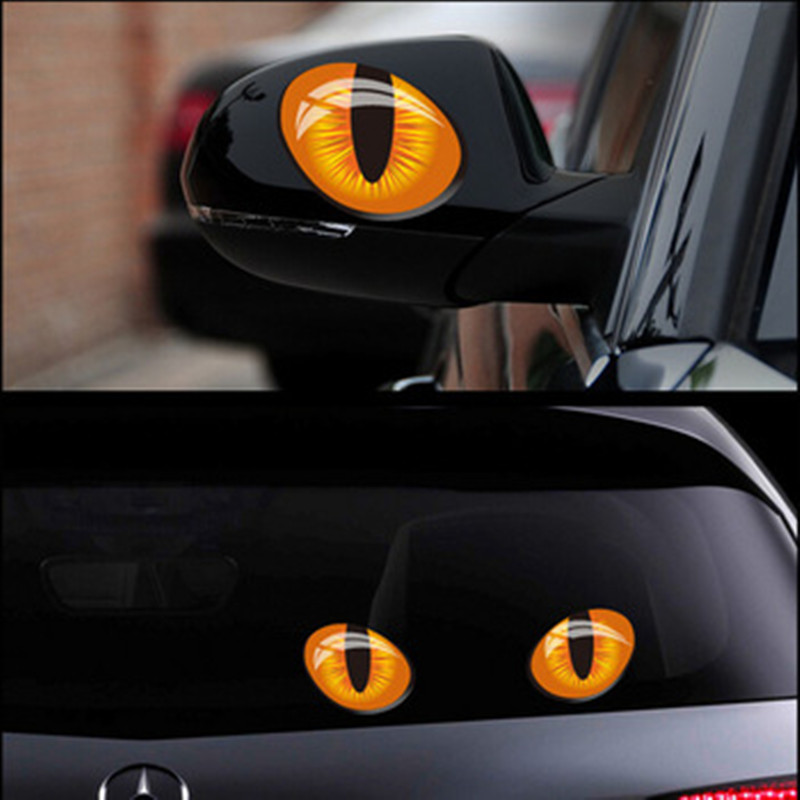 1 pair simulation cat eyes car stickers 3d vinyl decals on cars head engine cover rearview mirror decoration free shipping(China (Mainland))