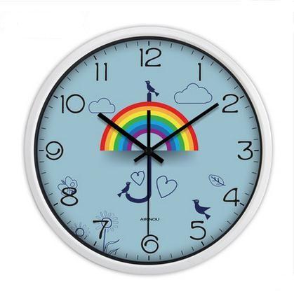 Modern 3 d creative personality rainbow large sitting room wall clock mute block watch cartoon quartz clock(China (Mainland))