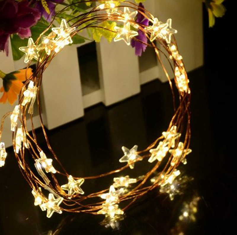 Copper Star String Lights : 2M 20 Led Copper Wire String Light Star Pendant Battery Fairy lights For Christmas Party Fairy ...