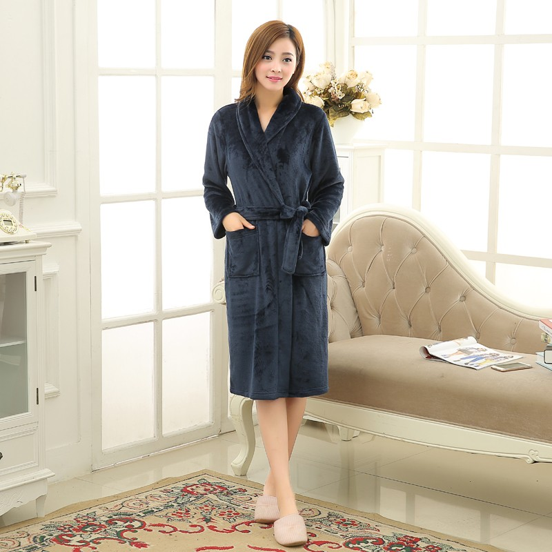Unisex Mens Women\`s Long Polyester Sleep Lounge Robes RBS-C LYQ114 0