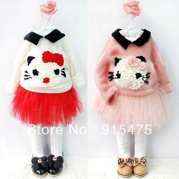 Hot new,5set/1lot,Children's set,100% cotton long sleeve t shirt+skirt,suits,red,pink,hello kitty clothing,free shipping
