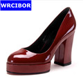 WRCIBOR Brand 2017 High quality Womens Genuine leather Round Toe Thick Heels Platform Pumps Women Patent