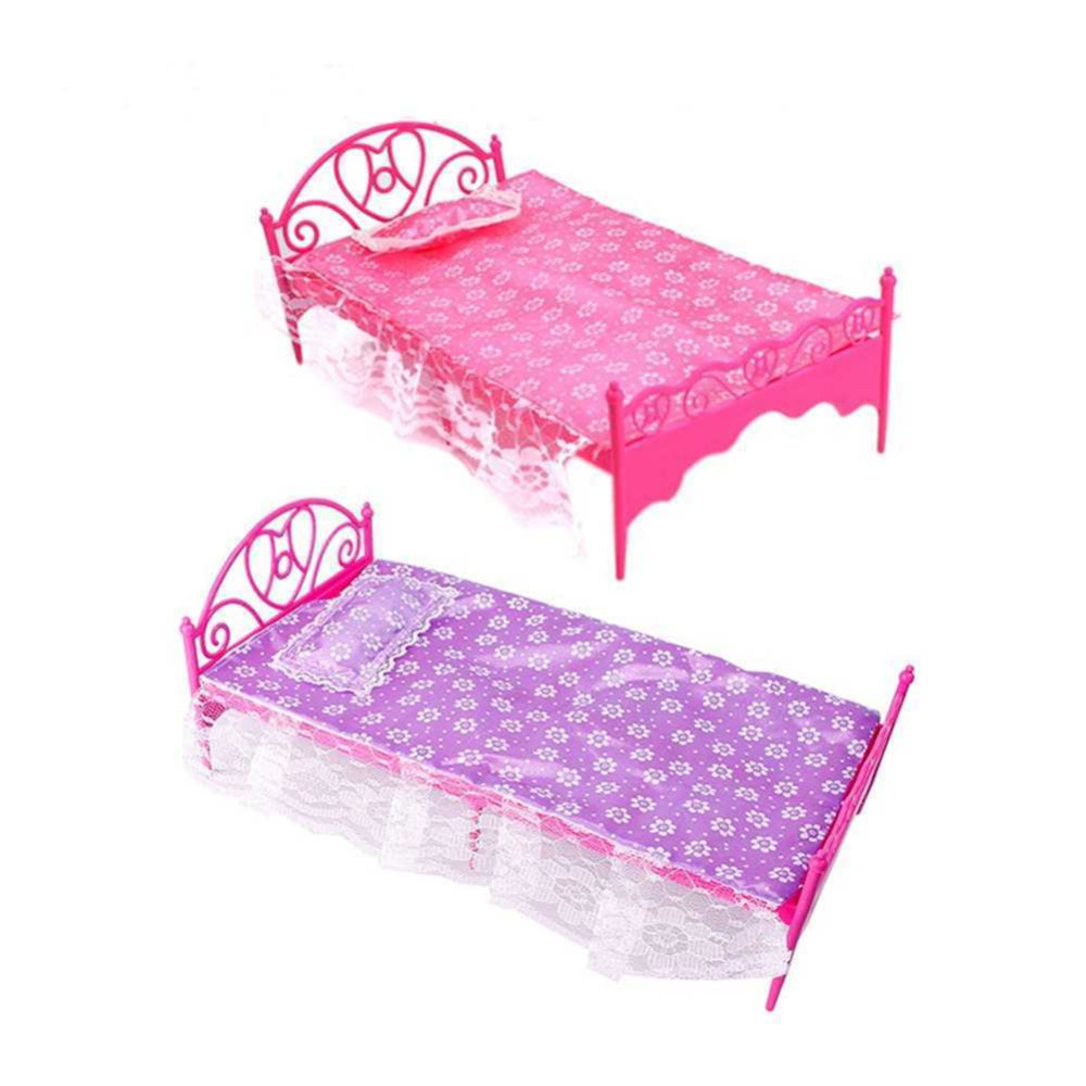 Details about Fashion Plastic Bed Bedroom Furniture Fr Barbie Dolls Dollhouse Pink Hotest(China (Mainland))