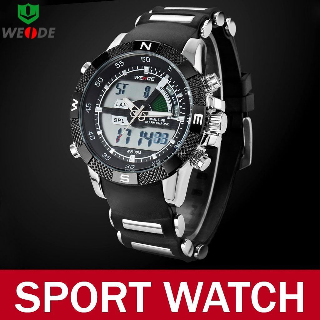 2015 Fashion Casual Men Weide Brand Watches Multi-function Military Quartz Sport LCD Analog Digital Wristwatch Relojes Hombre - Atolla Global Flagship Store store