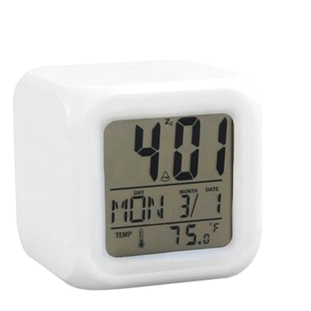 Fashion 2016 new LED 7 Color Glowing Change Digital Glowing Alarm Thermometer Clock Cube