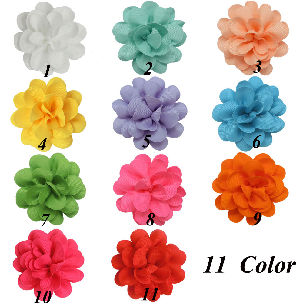 "22 Pcs/lot 4.5"" Handmade Fashion Ribbon Hair Flower For Girls Boutiue Kids Solid Cute Flower With Clips Baby Hair Accessories(China (Mainland))"