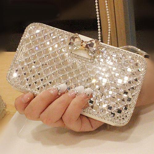 2015 New Arrival Luxury Wallet Bling Handbag Rhinestone Crystal Diamond Leather Case For Apple iPhone Retail/Wholesale(China (Mainland))