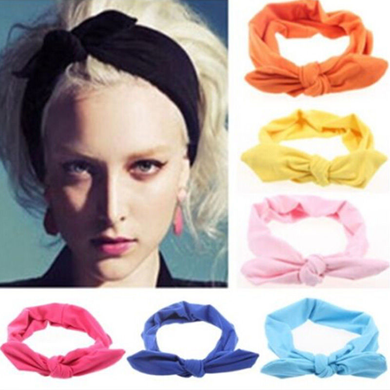 2016 Lovely Elastic Stretch Plain Rabbit Bow Knot Hairbands Hair Grips Headband Head Bands Turban Headwear Accessories For Woman(China (Mainland))