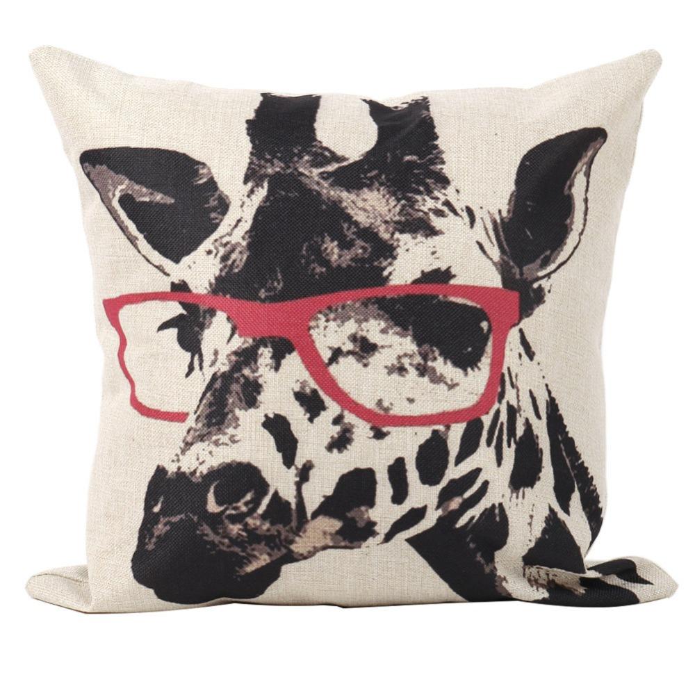 Animal Giraffe Pink Glasses Design Sofa Car Home Decor LinenThrow Pillow Case Cushion Covers Square - cn1510647989 store