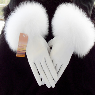 Genuine leather gloves fox fur female sheepskin thermal fleece lined raccoon white 2012 - ELLEN FASHION ACCESSORIES store