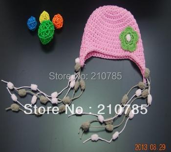 free shipping,1pcs/lot Newborn Baby kids girl green crochet flower hat ( Flowers tassels,children's Beanie Caps 100% cotton