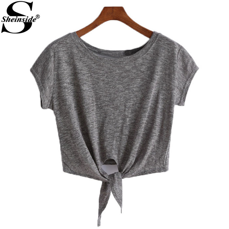 Sheinside 2015 Selling Summer Korean Cropped Tops Fashion Female Clothing Solid Grey Short Sleeve Knotted Casual Crop T-Shirt(China (Mainland))