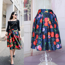 walson free shipping 2015 women new style retro print high waist tutu skirts rockabilly skirt for spring and summer