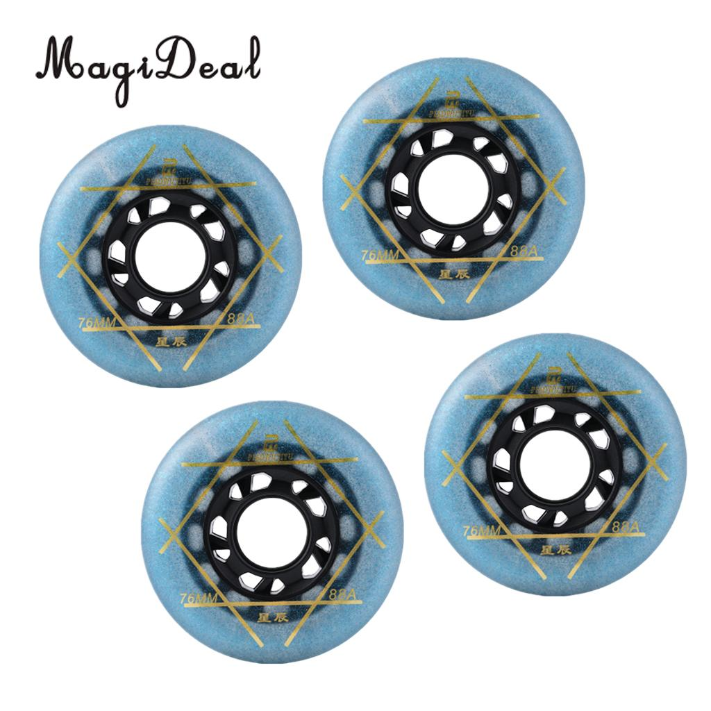 MagiDeal 4 Pcs Outdoor Inline Roller Skates Skating Replacement PU Wheel 76cm Blue