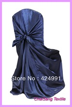 Navy Blue Satin Universal Chair Cover , Satin Back Self Tie Chair Cover for Wedding Decoration(China (Mainland))