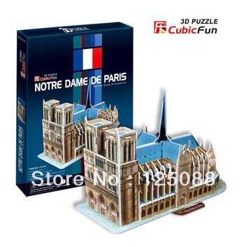 Free Shipping DIY 3D Paper Puzzle Model kids Eductional Toys children's Gift Famous Architecture Notre DameC717h(China (Mainland))