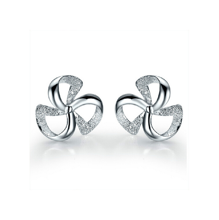 High Quality 925 Silver Wind Wheel Windmill Shape Ear Studs Delicate Clover Earrings Fashion Jewelry Gfit for Women SK106(China (Mainland))