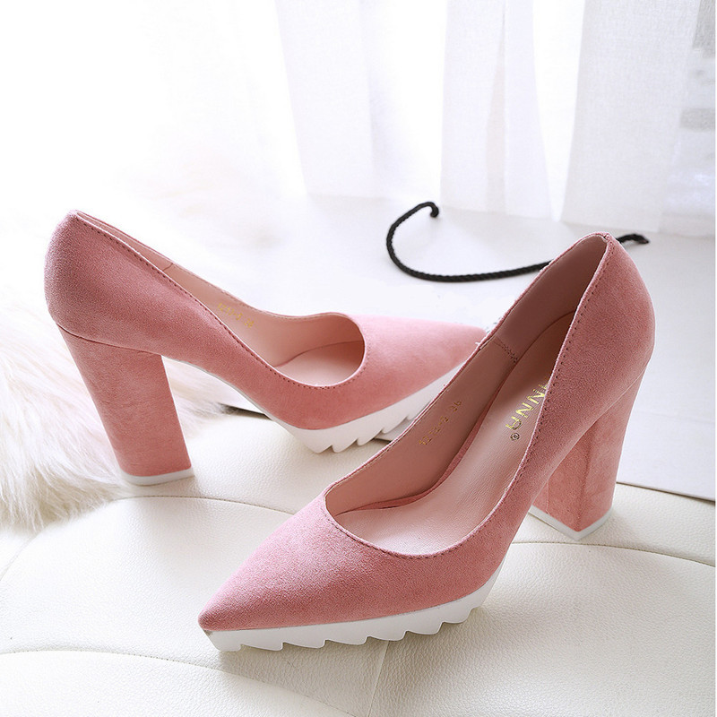 Sexy Thick Heel Women Pumps Fashion Platform Shoes Women High Heels Pointed Toe Business Shoes Woman 6 Colors(China (Mainland))