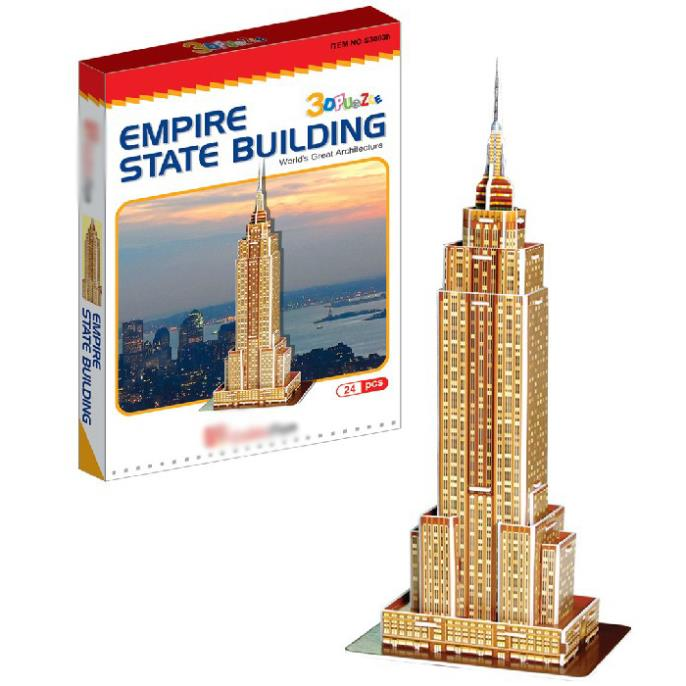 T0468 3D Puzzles Empire State Building DIY Building Paper Model kids Creative gift Educational toys Luxury colorful LED version(China (Mainland))
