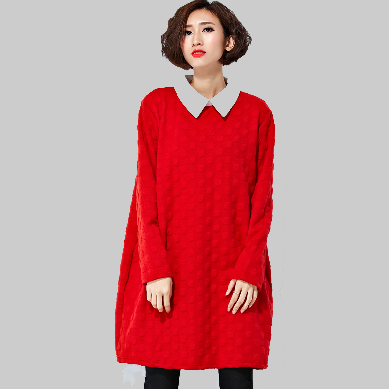 2016 Fashion Women Spring Dress Doll Collar Solid Color Dress Loose Long Sleeves Korean Above the Knee Leisure Dress DQ1032(China (Mainland))