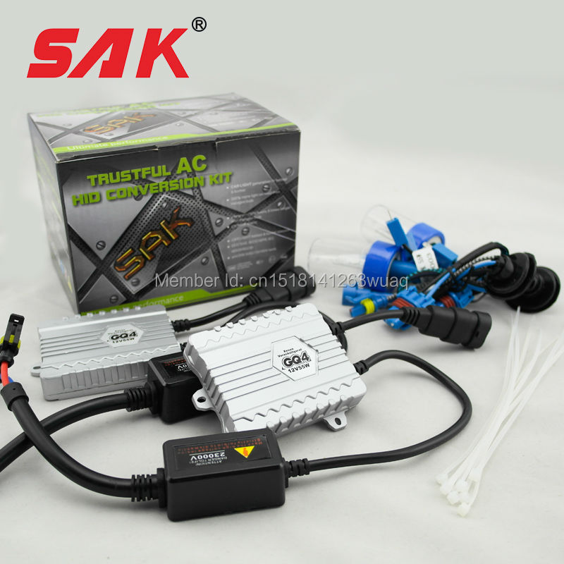 SAK xenon hid kit ac 12v 55w xenon bulb h1 highlighting lamp 6000K aluminum alloy shell digital quick star ballast car headlight(China (Mainland))