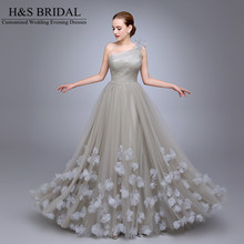 HS11 One Shoulder Ladies Popular Evening Dress A Line robe de soiree Evening Party Flowers Prom Dresses Tulle Long Evening Gown(China (Mainland))